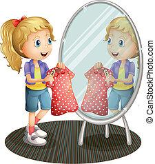 segurando, espelho, frente, menina, vestido, vermelho