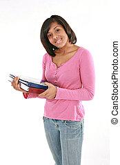 segurando, fundo, americano, faculdade, cadernos, femininas, isolado, feliz, estudante, africano
