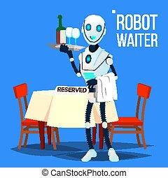 segurando, garçom, robô, ilustração, isolado, vector., bandeja, bebidas