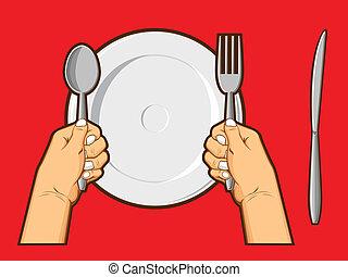 segurando, garfo, faca, &, mãos, colher