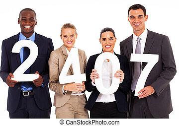 segurando, grupo, números, pessoas negócio