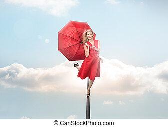 segurando guarda-chuva, atraente, mulher