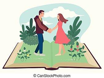 segurando, homem, abertos, mulher, livro, mãos