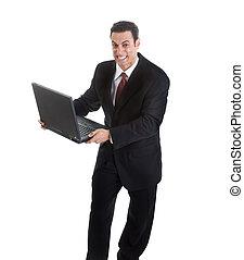 segurando, homem negócios, aquilo, olha, lançamento, isolado, zangado, semelhante, branca, pronto, laptop, experiência., esmagamento, ou, ele