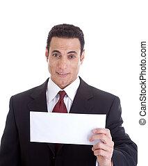 segurando, homem negócios, envelope., em branco, isolado, branca, surpreendido, experiência.