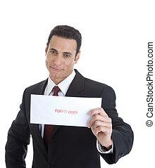 """segurando, homem negócios, smug, envelope, isolado, olhar, branca, marcado, """"foreclosed""""., experiência."""