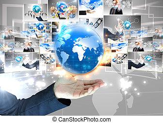segurando, homem negócios, .technology, mundo, conceito