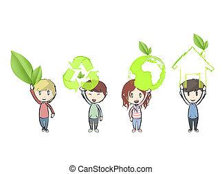 segurando, icons., vetorial, ecológico, crianças, design.