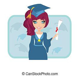 segurando, ilustração, diploma, dela, criança