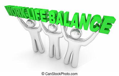 segurando, ilustração, work-life, pessoa, palavras, equilíbrio, 3d