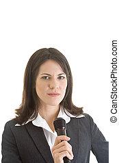 segurando, isolado, branca, negócio mulher, microfone