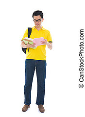 segurando, isolado, livros, faculdade, asiático, estudante, macho branco