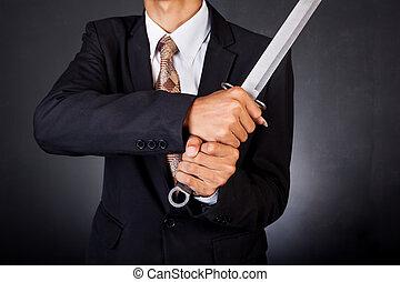 segurando, jovem, determinado, espada, paleto, homem...