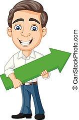 segurando, jovem, verde, seta, homem negócios, caricatura
