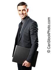 segurando, laptop, isolado, fundo, homem negócios, sorrindo, branca