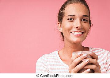 segurando, leite chocolate, sorrindo, deslumbrante, imagem, vidro, encantador, mulher closeup