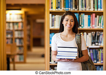 segurando, livros, estudante