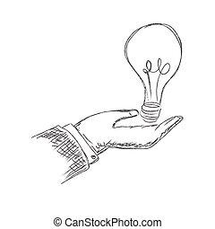 segurando mão, bulbo, luz