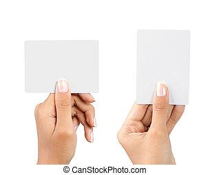 segurando mão, cartão negócio, em branco