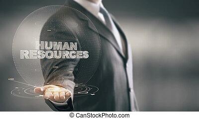 segurando mão, human, homem negócios, novo, tecnologias, recursos