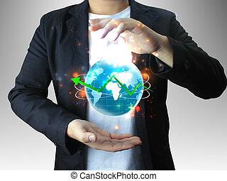 segurando mão, mundo