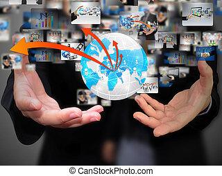 segurando mão, negócio mundo