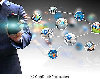 segurando mão, social, mídia