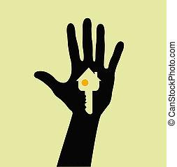segurando mão, tecla casa