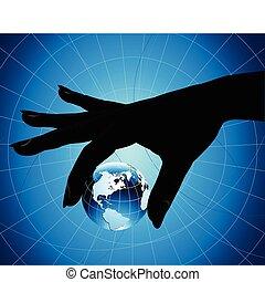 segurando mão, terra