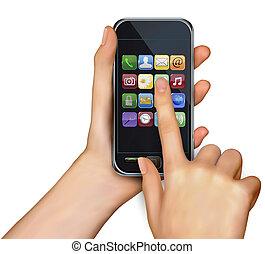 segurando mão, touchscreen, móvel