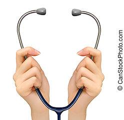 segurando, médico, fundo, vector., mãos, stethoscope.