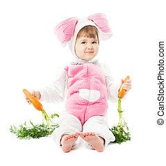 segurando, menina, sentando, sobre, coelhinho, cenoura, traje, fundo, paleto, bebê, fresco, branca, Páscoa, lebre, criança