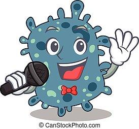 segurando, microfone, cantor, personagem, rickettsia, ...