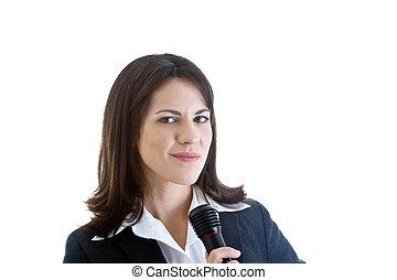 segurando, microphone., caucuasian, isolado, enquanto, branca, smirking, mulher, câmera, experiência.
