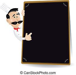 segurando, mostrando, cozinheiro, especiais, quadro-negro, ...