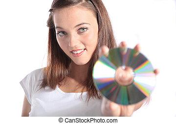 segurando, mulher, cd-rom, atraente