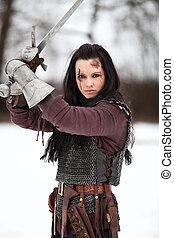 segurando, mulher, medieval, espada, traje