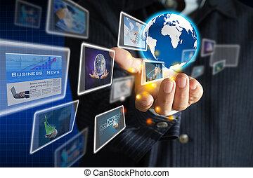 segurando, mundo, cobrança, negócio, mão