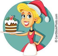 segurando, natal feliz, bolo, cozinheiro, lar, femininas