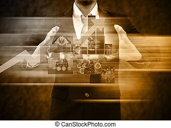 segurando, negócio, mundo, homens negócios