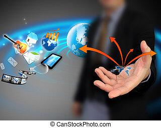 segurando, negócio, mundo, mão, mapa