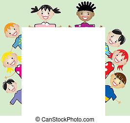 segurando papel, filhos jovens, em branco