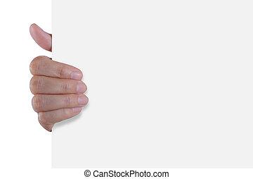 segurando papel, vazio, mão, branca