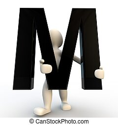 segurando, pessoas, m, personagem, pequeno, pretas, human, letra, 3d