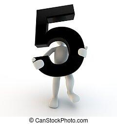 segurando, pessoas, personagem, numere 5, pretas, human, pequeno, 3d