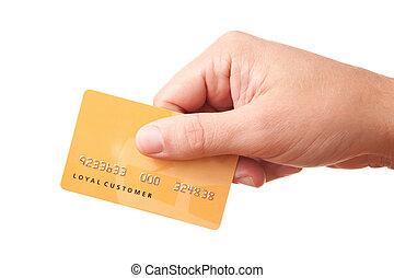 segurando, plástico, mão, cartão, identificado