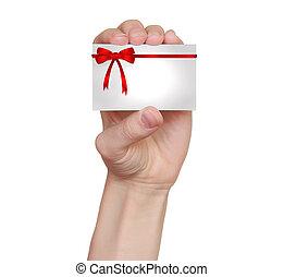 segurando, presente, isolado, mão, arcos, experiência vermelha, branca, fitas, cartão