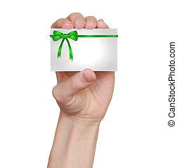 segurando, presente, isolado, mão, arcos, verde, cartão, fundo, fita branca