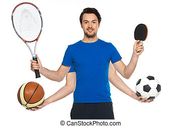 segurando, raquetes, ball., fundo, clássicas, retrato, homem, bolas, futebol, dois, ficar, sujeito, branca