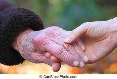 segurando, seniores, mão